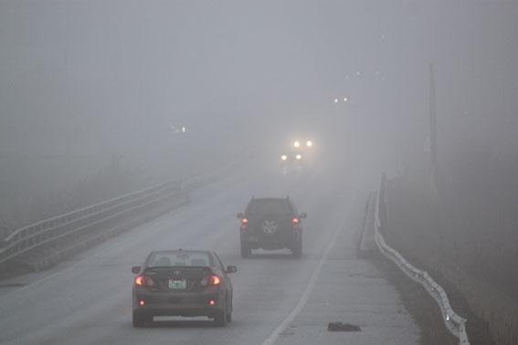 Precaución extrema al circular con niebla
