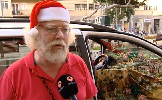 Papá Noel se sube al taxi