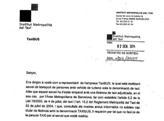 El IMET solicita a la empresa TaxiBus que no use la palabra 'taxi'