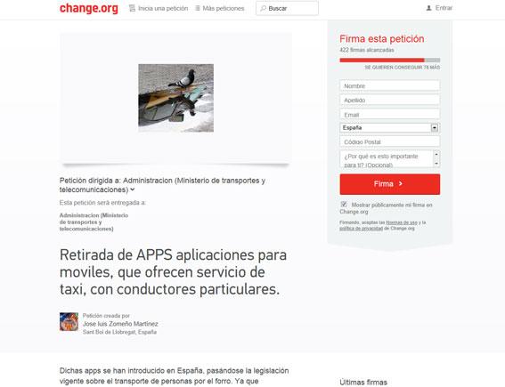 Taxistas de toda España firman una petición para retirar las apps