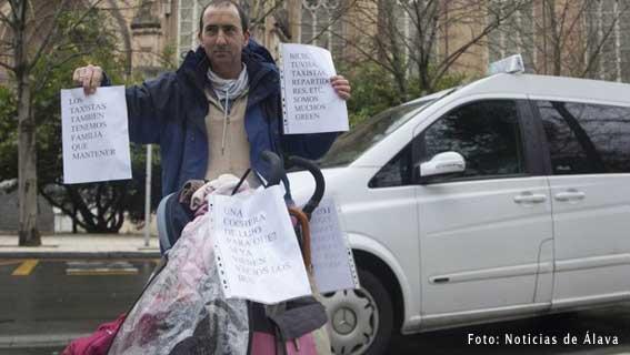 Taxistas de Vitoria, contra los buses interurbanos