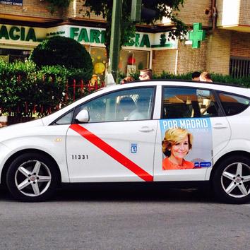 El PP se publicita en los taxis de Madrid