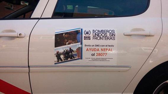 Campaña solidaria del taxi para Bomberos Unidos sin Fronteras