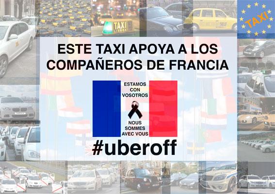 Taxis españoles viajan a Francia para apoyar al sector galo contra Uber