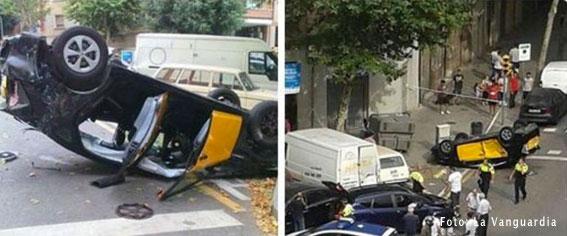 Aparatoso accidente de taxi en Barcelona