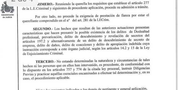 Demandantes de AGATM querellados por deslealtad y prevaricación