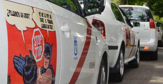 Taxistas de Madrid y Bilbao se suman a la campa�a contra el TTIP