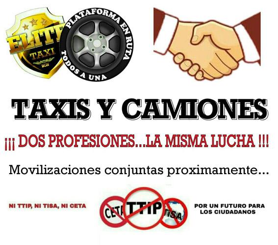 Taxistas y camioneros se unen contra el CETA
