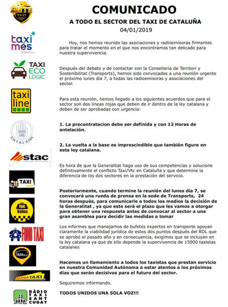El taxi catalán impone dos líneas rojas a la Generalitat