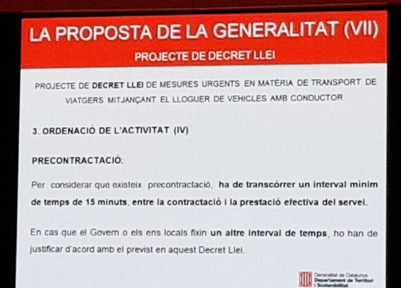 Las VTC deberán pedirse solo con 15 minutos de antelación en Catalunya