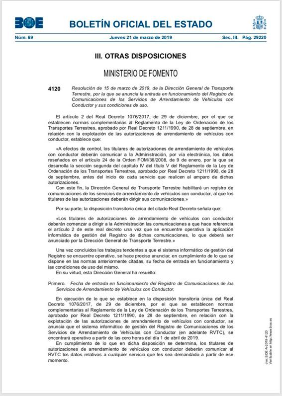 Las VTC, obligadas a registrar todos sus servicios desde el 1 de abril