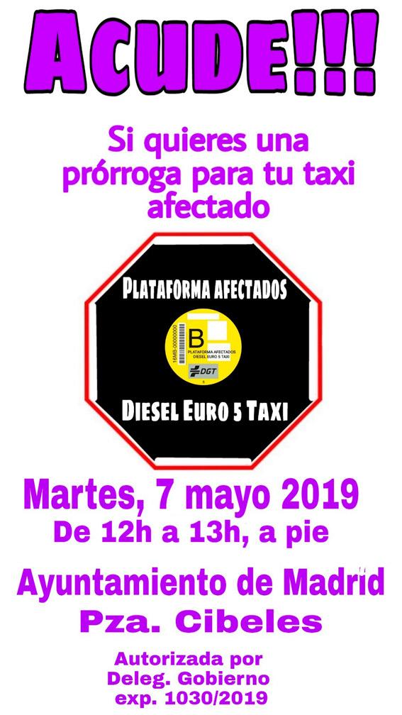 Concentración en Madrid de taxistas afectados por el Diésel Euro 5