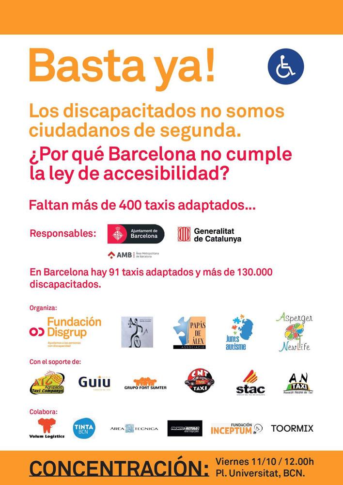Discapacitados protestan ante la falta de eurotaxis en Barcelona