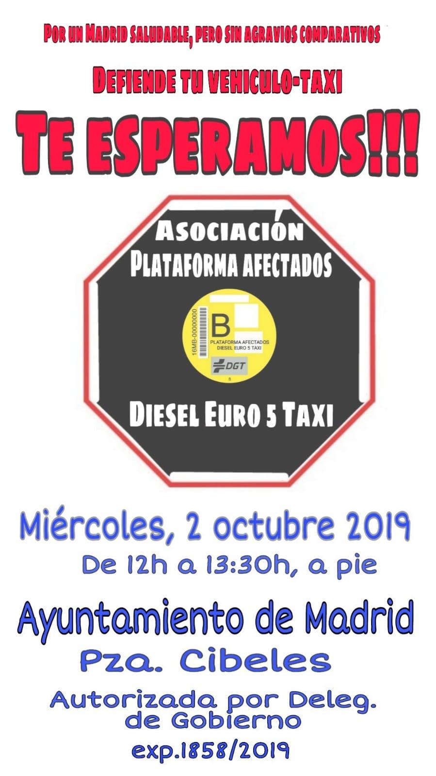 Taxistas afectados por el Diésel Euro 5 se concentran en Madrid