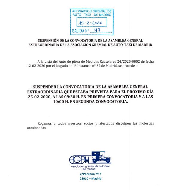 Suspendida la Asamblea de AGATM del 25F