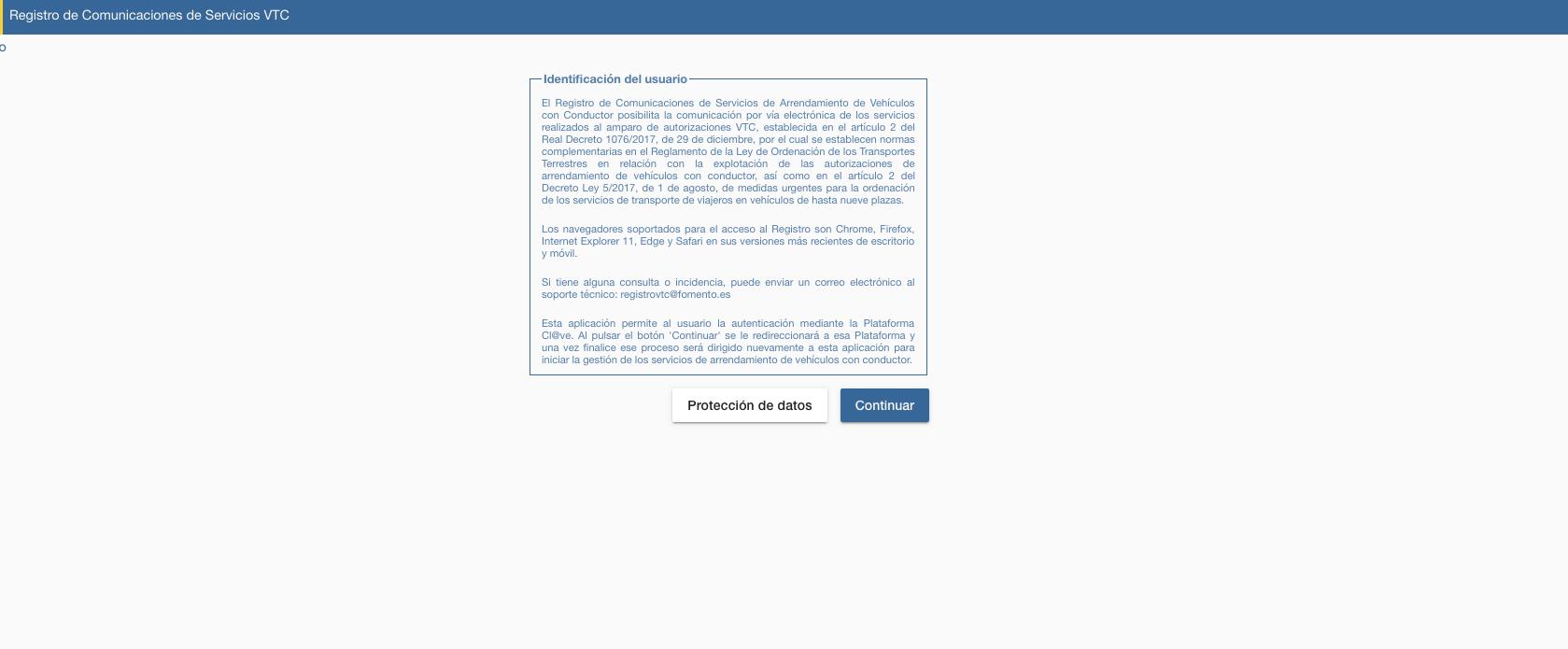Transportes, obligada a cerrar la web de control de VTCs