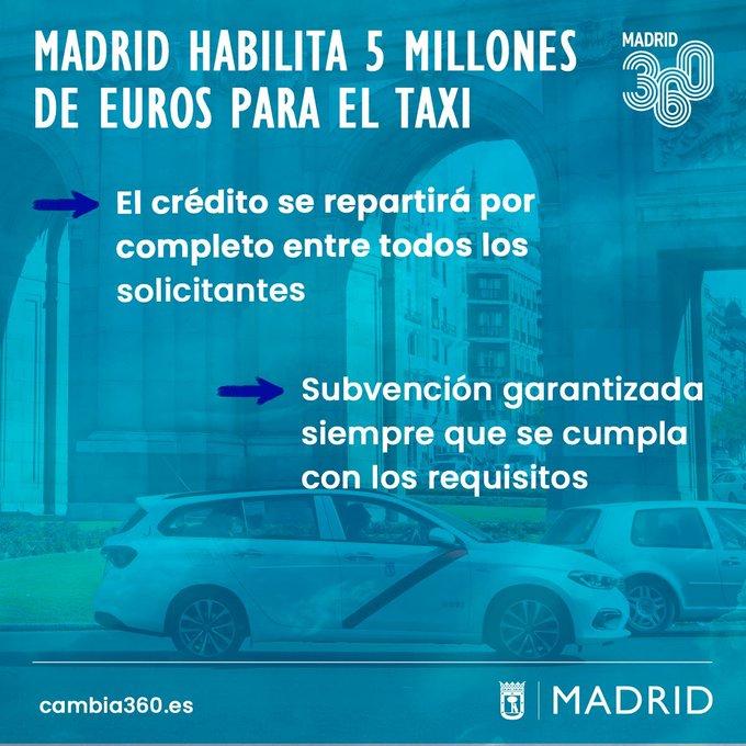 Madrid aprueba 5 millones de euros en ayudas directas al taxi