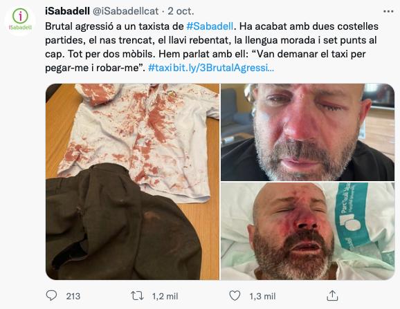 Brutal agresión a un taxista de Sabadell