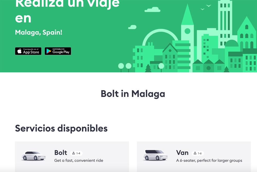 Bolt también ofrece en Málaga taxis y VTCs